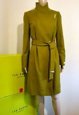 TED BAKER SANDRA MID GREEN WOOL CASHMERE WRAP COAT UK 10 TED 2 US 6 BNWT RRP£329