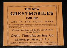 1903 OLD MAGAZINE PRINT AD, THE NEW CRESTMOBILE VEHICLES, IN THE FRONT RANKS !