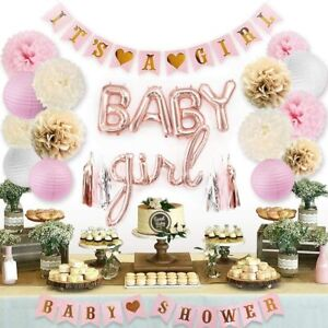Baby Shower Decorations for Girl with Its A Girl Banner, Baby Girl Foil Letter