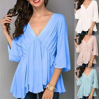 Womens V Neck Half-Sleeved Loose T Shirt Ladies Summer Casual Tshirt Blouse Tops