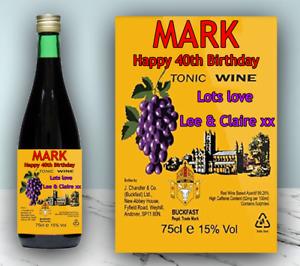 Personalised Buckfast Label Birthday Celebration Groom Gift Wine Sticker