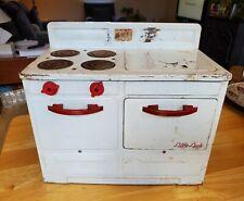 Vintage Metal Tin Toy Little Lady  Kitchen Child Antique Electric Stove
