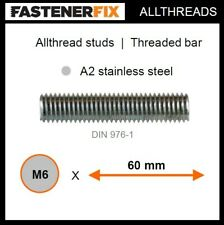 M6 x 60 mm allthread A2 stainless studs, threaded bar to DIN 976-1 (100 pack)