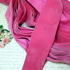 "2"" WIDE DARK PINK OSTRICH VELVET RIBBON SATIN BACK FRENCH FLOWER WEDDING DOLL"