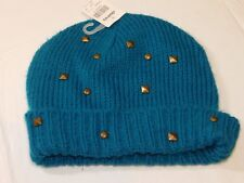 2e85b4dfb9c18 Claire s Youth Girls acrylic beanie hat cap One Size OS teal 14360-2 NWT