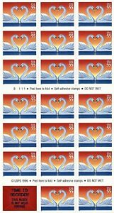 1997 Love Swans 55¢ Self Adhesive 20 Stamp Booklet MNH Scott #3124a