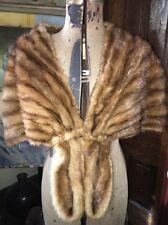 Vtg Estate Mink Fur Detroit Sheared Sable Stole Cape Bolero Shawl Cowl Wrap