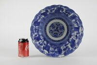 Antique Japanese punch bowl, very large blue and White