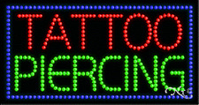 """New """"Tattoo Piercing"""" 32x17 Solid/Animated Led Sign w/Custom Options 21119"""