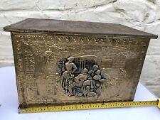 Vintage Brass Wooden General Storage Box with Lid