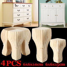 10/15cm 4Pcs European Solid Wood Carved Foot Legs Cabinet Couch Furniture  ~