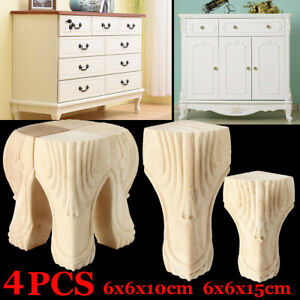 10/15cm 4Pcs European Solid Wood Carved Foot Legs Cabinet Couch Furniture