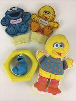 Sesame Street Baby Toys Cookie Monster Spinning Rattle Vintage 1992 Big Bird 90s