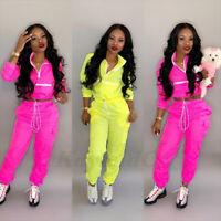 Womens Zip Up Neck Long Sleeve Top safari Long Pants Set Sport Tracksuit Outfit