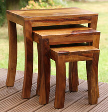 Solid Wood Indian Rosewood Sheesham Curved Leg Nest of 3 Occasional Tables Jali