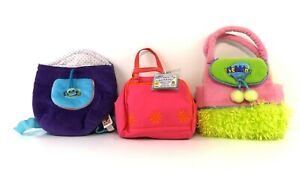 Lot of 3 Ganz Webkinz Plush Pet Carriers Purple Knapsack Pink One with Code