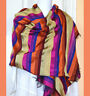 Moroccan Cactus Silk Orange Gold Dark Pink Color Striped Wrap Stole from Morocco