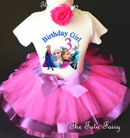 Elsa Anna Frozen Hot Pink Lavender Girl 3rd Third Birthday Tutu Outfit Set Shirt