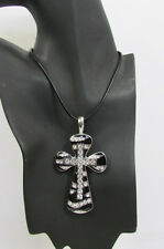 New Women Silver Black Long Fashion Necklace Large Metal Zebra Cross Rhinestones