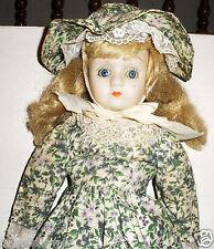 "18"" Zazan Bisque Porcelain Doll Blonde Hair Blue Eyes With Prarie Style Dress"