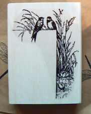 P4  Retro styled Bird art border rubber Stamp WM