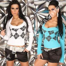 Jumper Ladies Womens Argyle Sweater Diamond Bolero Top size 8 10 12