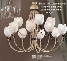 3659 IB-Chandelier, Cream/Ivory, Made In Italy, Glass shades not included.