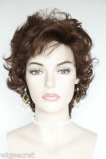 Dark Auburn Red Medium Short Wavy Wigs