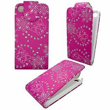 CASE FOR APPLE IPHONE 4G 4S HOT PINK DIAMOND BLING GEM BUTTERFLY FLOWER COVER