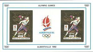 Guyana 1992 - Sports Winter Olympics Alberville 92 Gold Foil 2V S/S Emblem - MNH