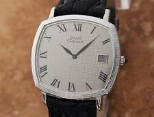Piaget 18k White Gold Automatic Swiss Made 32.5mm Men's c 1990 Dress Watch  LV56