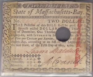 Massachusetts Bay $2 Colonial Currency 1780 Note Two Dollars