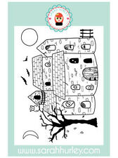 Sarah Hurley Charm Street Cuties Halloween House Background Stamp