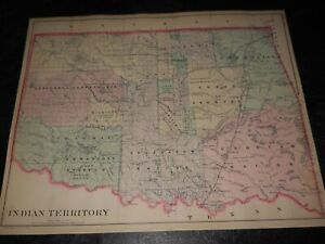 "Original Antique 1887 Map of Indian Territory 12 x 15"" Map ~ Very Colorful"