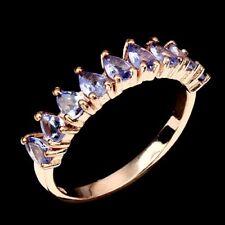 Ring Tansanit 925 Silber 585 rosévergoldet Gr. 57