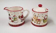 Christmas Tableware Ceramic Santa Plaid Festive Design Sugar Bowl & Cream Jug