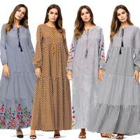 Abaya Women Muslim Kaftan Jilbab Cocktail Maxi Robe Islamic Arab Islamic Dress