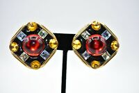 Statement Clip On Earrings Square Jeweled Blue Red Gold Tone Plastic BinC