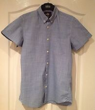 Men's H&M Blue Checked Short Sleeved Shirt - Size Small