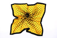 "Large Square Silk Scarf 36x36"" Black and Yellow Theme Polka Dot Print SZD034"