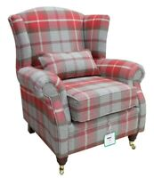 Ashley Wing Chair Fireside High Back Armchair Balmoral Cherry Check PS