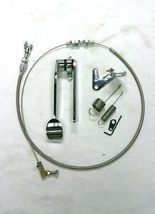 "Street Rod Chrome Spoon Gas Pedal + 24"" SS Throttle Cable & Bracket Spring Kit"