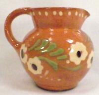 Terra Cotta Art Pottery Pitcher Hand Painted Flowers Germany Vintage Small