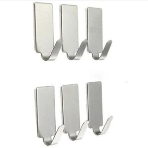 6x Stainless steel self adhesive hook hanger.Rectangular.sticky hooks.Towel hook
