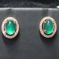Antique Vintage Green Jade Diamond Earrings 14k Gold Plated Women Jewelry