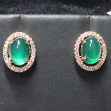 Antique Vintage Green Emerald Diamond Earrings 14k Gold Plated Women Jewelry
