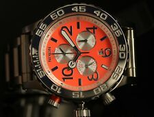 Nixon Mens LEFTY 40-20 Chrono Bright Coral Dial Stainless Steel Bracelet Watch
