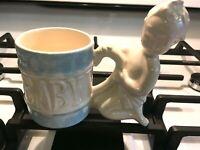 VINTAGE Antique Glazed Porcelain Pottery BABY PLANTER UNMARKED