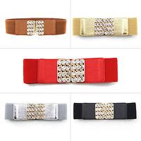 Ladies Women Stretch Elasticated Waist Belt Diamante Buckle 60mm Wide