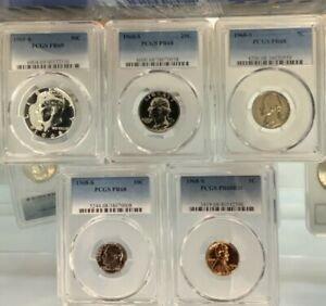 1968-S PCGS PR68 (COMPLETE 5 COIN GRADED SILVER PROOF SET) 50C,25C,10C,5C,1C !!!